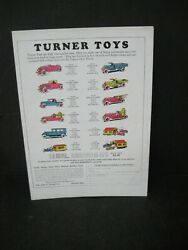 Vintage Advertisement For Turner Toys- Colored Pictures Of Trucks Etc 1915