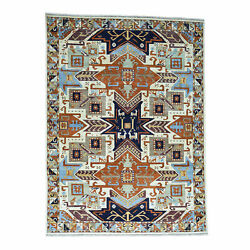9and0393x12and0392 Handknotted Geometric Design Super Kazak Pure Wool Rug G34514