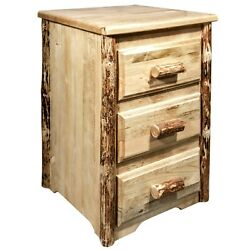 Three Drawer Night Stand Log End Tables Amish Made Rustic Bedside Stands