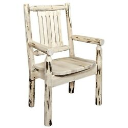 Rustic Log Captain Chair Lodge Cabin Chair With Arms Amish Made Dining Furniture