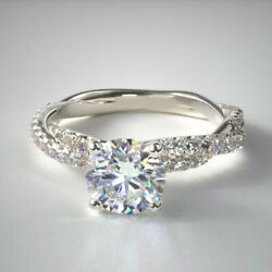 1.13 Carat Beautiful Round Real Diamond Ring Solid 14k White Gold Size 5 6 7 8 9