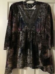 Style & Co. Xl Cute Shark Bite Tunic With Lace Sequins And Velvet!