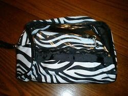 3 Piece Cosmetic Vinyl Travel Bag blackwhiteclear 9x6 New $5.00