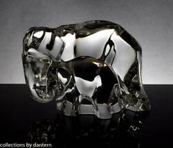 Baccarat Crystal Elephant Mother and Calf Figurine