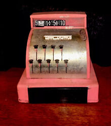 Toy Tom Thumb Cash Register Mid Century Works Pink Steel Vintage Grocery Store