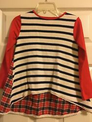 Persnickety Penny Lane Scout Tunic Girls Striped and Plaid Top Shirt Size 6