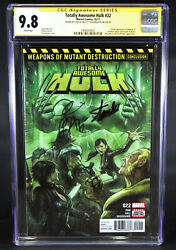 Totally Awesome Hulk 22 Cgc 9.8 Ss Signed 2x By Stan Lee And Greg Pak 1st Weapon H