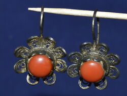 Art Deco Antique Russian Silver 84 Salmon Undyed Coral Faberge Design Earrings