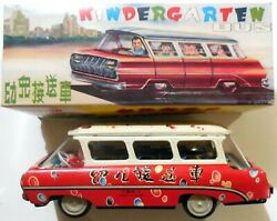 Vintage Tin Toy Red China Kindergarten Bus Friction Mf 975 1970s Boxed
