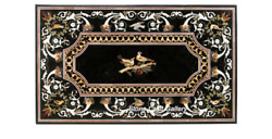 54 X 32 Marble Center Table Top Semi Precious Stones Inlay With Marble Stands