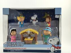 New Peanuts Christmas Nativity Deluxe Figure Set Charlie Brown Snoopy Lucy