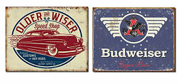 Set Of 2 Vintage-style Signs - Older And Wiser Speed Shop, Budweiser - Great Gift