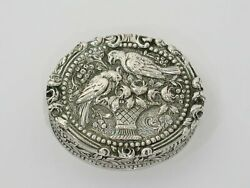 2 1/8 In - European Silver Antique German Two Parrots Rose Basket Snuff/pill Box