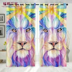 Flame Glowing Lion Curtain For Bedroom Living Room With Diamond Shape Flame Lion