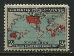 1898 Canada Qv 2 Cent Map Stamp Unmounted Mint Nh And Vf