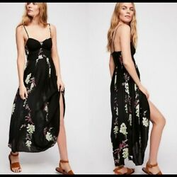 Free People Intimately Beau Printed Smocked Black Causal Slip Midi Dress M New