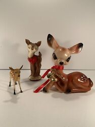 3 Vintage Hard Plastic Big Brown Eyed Bambi Deer Spotted Fawn Cute Lot