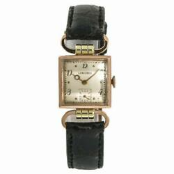 Longines Womens Hand Winding Vintage Watch Sliver Dial 14k Rose Gold 22mm
