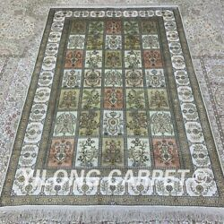 Yilong 4and039x6and039 Handknotted Silk Carpet Four Seasons Kid Friendly Classic Rug H295b