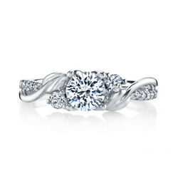 Round Cut 0.74 Ct Real Diamond Engagement Ring For Women 950 Platinum Size 5 6 7