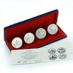 Laos 50 Kips Set 4 Coins 10 Years Of Peopleand039s Democratic Republic Of Laos 1985