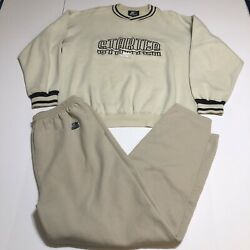 Vintage Starter Beige Spell Out Full Sweat Track Suit Size L