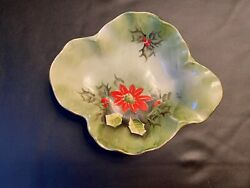 1950's Lefton China Vintage Hand Painted Poinsettia Nappy Dish Limited Ed 4394
