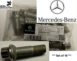 Set Of 10 Genuine Mercedes-benz Wheel Bolts Oem A0009905407 Made In Germany