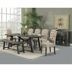 Alpine Furniture Newberry Wood Extension Dining Table In Salvaged Gray