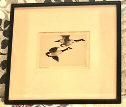 Antique Vintage 1917 Frank W.benson Study Of Geese Etching Drawing Painting Old