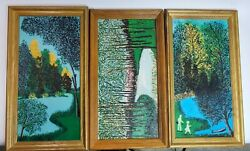 Oil Painting Michigan Landscapes Rare 1970s Set Of 3 Irene Wilson 15x27 Each