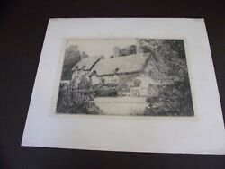 Vintage Black And White Print Thatched Cottage Scene