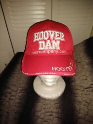 Hoover Dam Attraction Tour Company Embroidered Hat Hook And Loop Red White