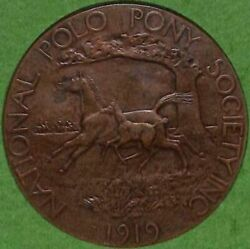 National Polo Pony Society 1919 Bronze Medal By Charles Cary Rumsey 1879-1922