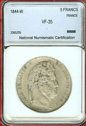 France 5 Francs 0.900 Silver Coin 1844 W Vf Km749 Louis Philippe I French
