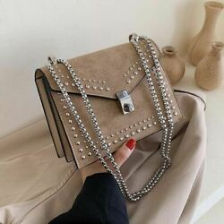 Scrub Leather Small Shoulder Messenger Bags For Women Chain Rivet Lock Crossbody $32.00