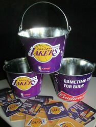 New 3 Budweiser Lakers Beer Ice Bucket 20 Coasters Lot Galvanized Metal Cooler