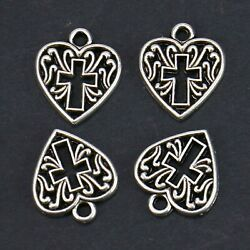4 Cross Heart Charms Antiqued Silver Religious Pendants Christian Findings 16mm