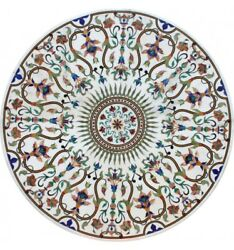 48 X 48 Marble Pietra Dura Center / Dining Table Top Floral Inlay Work