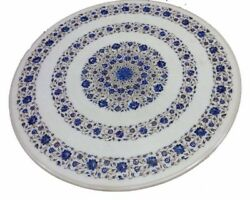 42 Marble Lapis Semi Precious Stones Floral Table Top Inlay Work