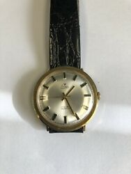 Vintage Rare 14k Solid Yellow Gold Stowa Mens Watch. Pie Pan Dial.