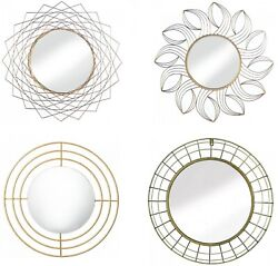 Round Mirrors For Wall Decor Glam Vanity Geo Bathroom Fireplace Mount Gold Frame