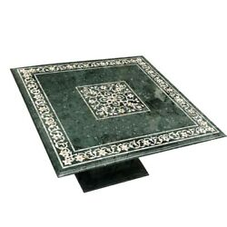 36 Green Marble Coffee Table Top Inlay Semi Precious Stones With Marble Stand