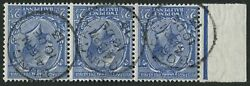 Sg372wi 2½d Blue Wmk Inv Horizontal Strip Of 3 With Margin, Each With Fine