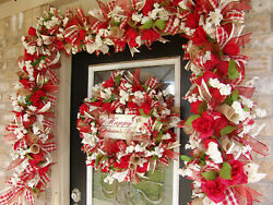 Happy Valentines Day Deco Mesh Wreath And 9' Garland Decor Decoration Home Welcome