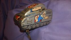 Vintage Tin Popeye Tank Wind Up Toy By Line Mar