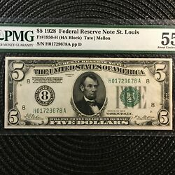 1928 5 Federal Reserve Note [] St. Louis [] Nice Older Numeric Seal [[]]