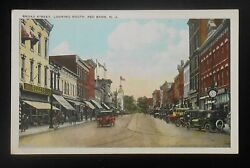 1910s Broad Street Looking South Antique Cars Stores Clock Weller's Red Bank Nj