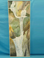 Monumental Mid Century Expressionist Painting By Ray Smith Waterfall 1