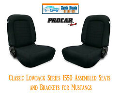 Classic Lowback Seats And Bracket Kit Procar 80-1550-61 For 1965-1998 Mustangand039s